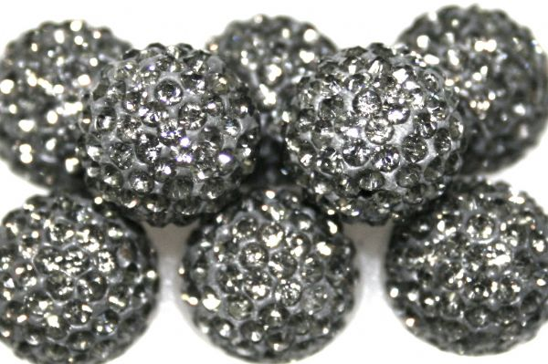 8mm Grey 70 Stone  Pave Crystal Beads- Half Drilled  PCBHD08-070-004